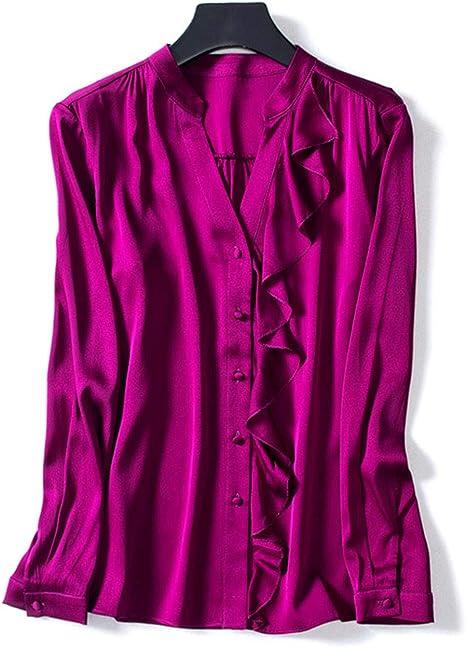 AIBAB Camisa De Seda con Cuello De Pico para Mujer Top De Gasa Ropa De Mujer En Color Liso. Temperamento: Amazon.es: Deportes y aire libre