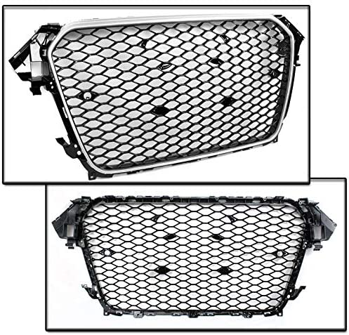 ZMAUTOPARTS 2009-2012 Audi A4 S4 B8 8T RS5 Style Honeycomb Mesh Hex Grille Grey with Chrome Trim