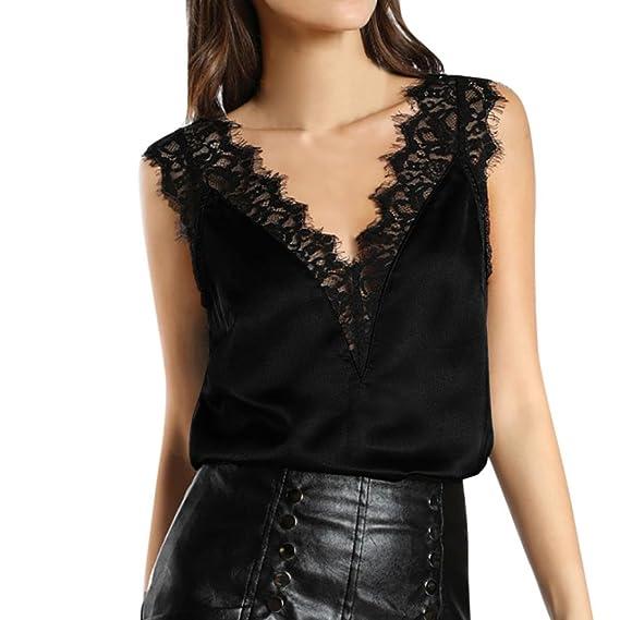 SHOBDW Mujeres de Encaje Chaleco Superior sin Mangas Casual Blusa de Primavera Tops Camiseta (Negro