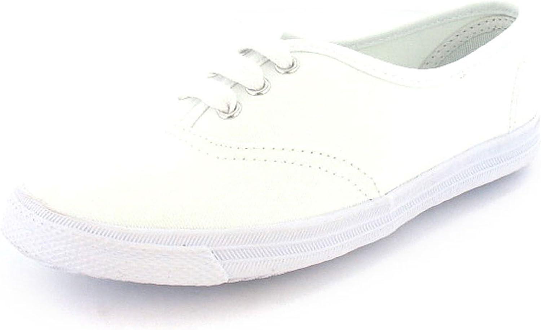Boys White Lace Up Canvas Pumps - White