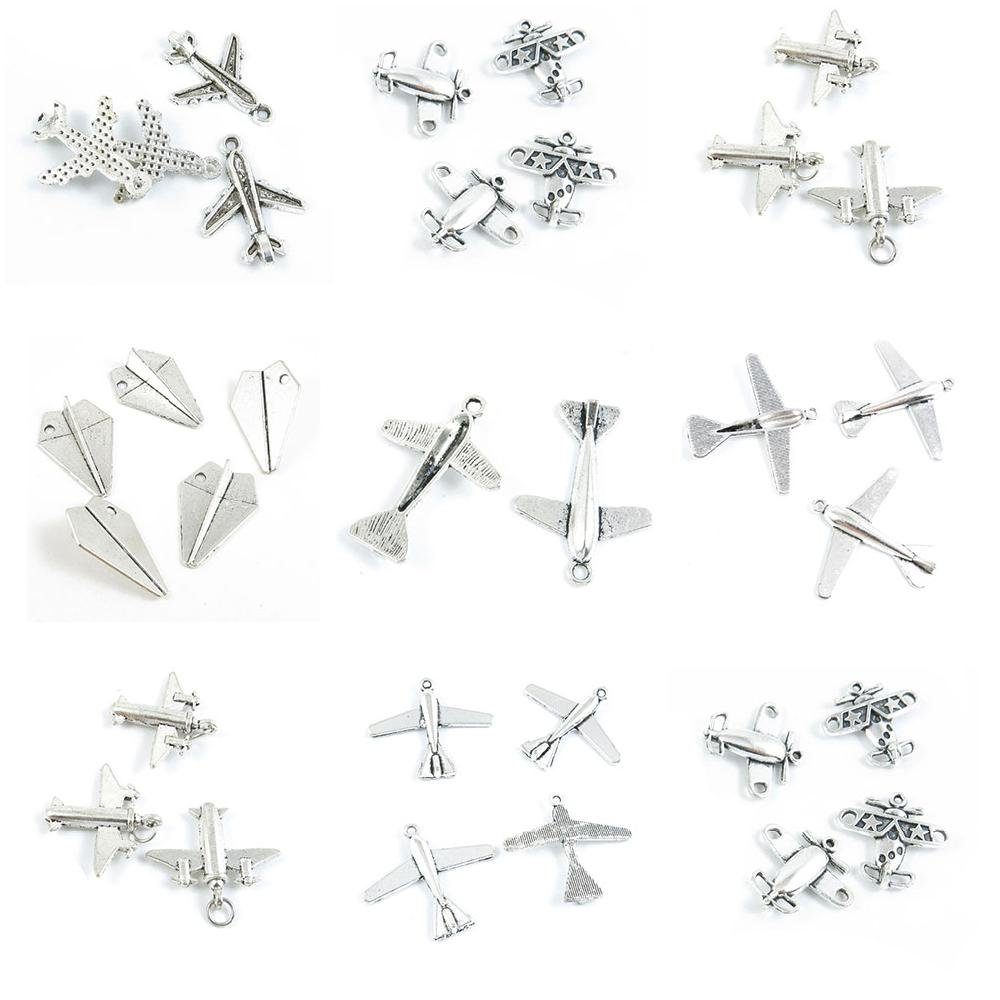 32 Pieces Antique Silver Tone Jewelry Making Charms Airplane Aircraft Paper 4044 Charms