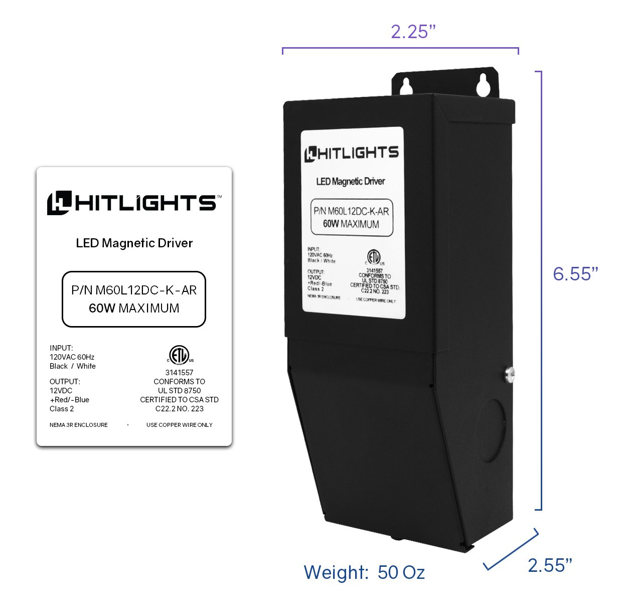 HitLights 60 Watt Dimmable Driver, Magnetic, for LED Light Strips - 110V AC-12V DC Transformer. Made in the USA. Compatible with Lutron and Leviton by HitLights (Image #2)