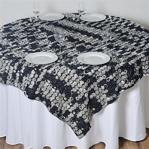 - 72 Inch X 72 Inch Triple-Tone Mini-Rosettes Table Overlays - Black Umbre