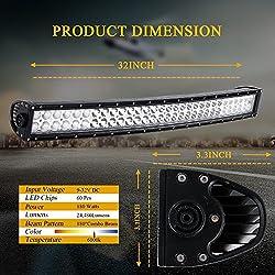 DOT 32 Inch 180W Curved Led Light Bar + 2PCS 4 Inc
