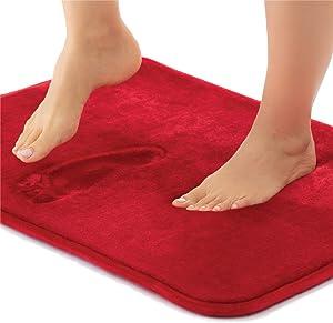 Gorilla Grip Thick Memory Foam Bath Rug, Soft Absorbent Velvet Floor Mats, 60x24 Bathroom Mat, Machine Washable, Quick Dry Rugs, Cushioned Luxury Plush Comfortable Carpet for Bath Room Shower, Red