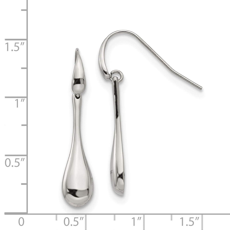 Stainless Steel Polished Bar Dangle Earrings