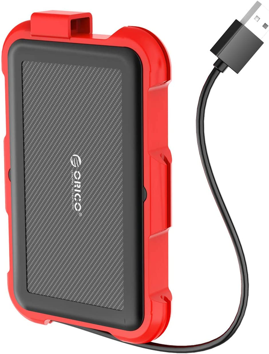 ORICO 2.5inch USB3.0 Type A External Hard Drive Enclosure with Cable and Hook for 7/9.5mm SATA HDD SSD Enclosure Shockproof Waterproof Storage Box Casing Max 4TB - Red