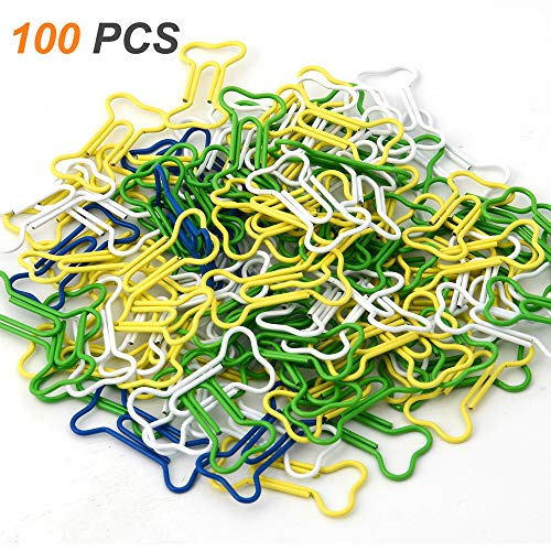Bone Shaped Paper Clips - Coolrunner 100pcs Bone Shape Multicolor Metal Paper Clips (Bone-Shaped 100 PCS)