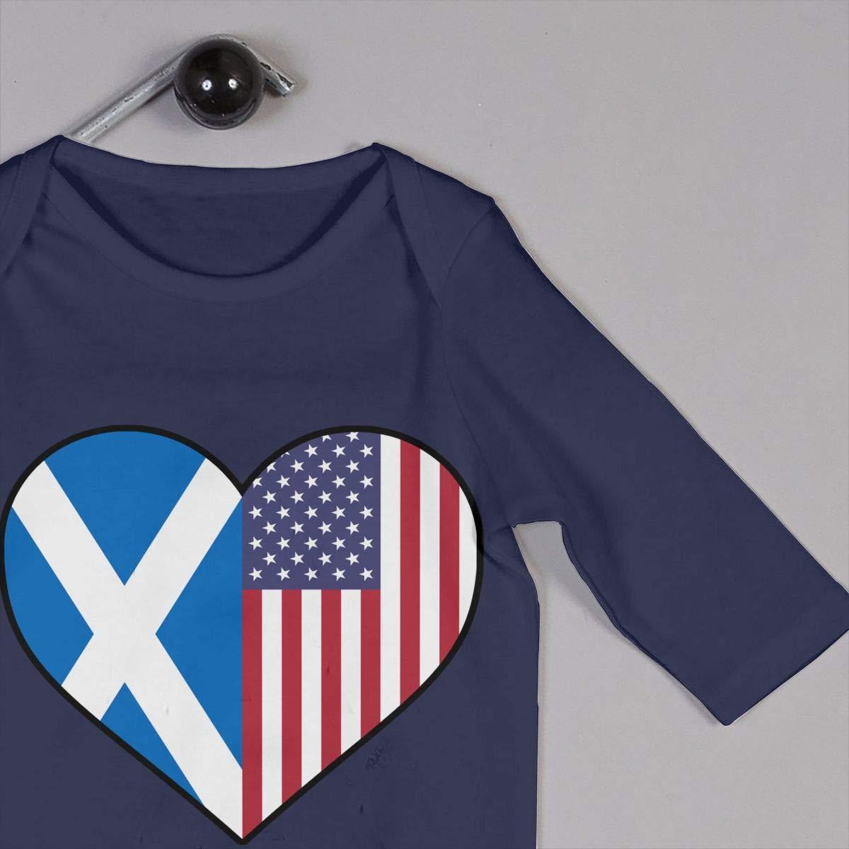 LBJQ8 Scotland Flag Half America Flag Half Heart Shaped Unisex Baby Organic Cotton Jumpsuit Overall Romper