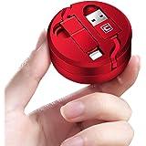 巻き取り ケーブル 急速充電 ライトニング MicroUSB 1.3m 収納ケース付き (1.3m, レッド)