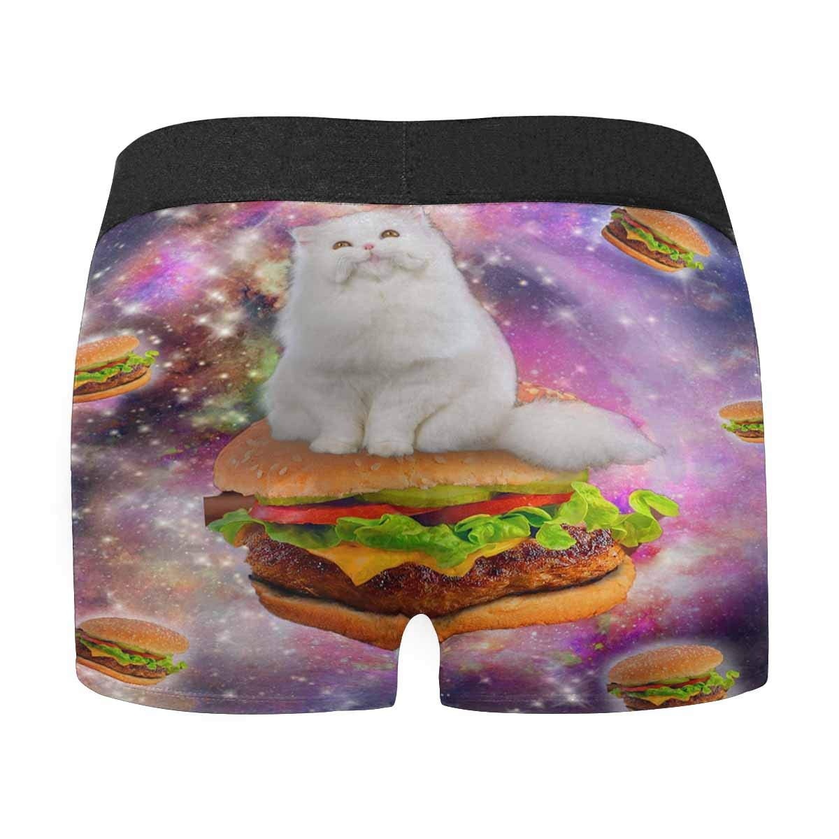 XS-3XL INTERESTPRINT Mens Boxer Briefs Cat On Delicious Big Hamburger with Glaxy Space