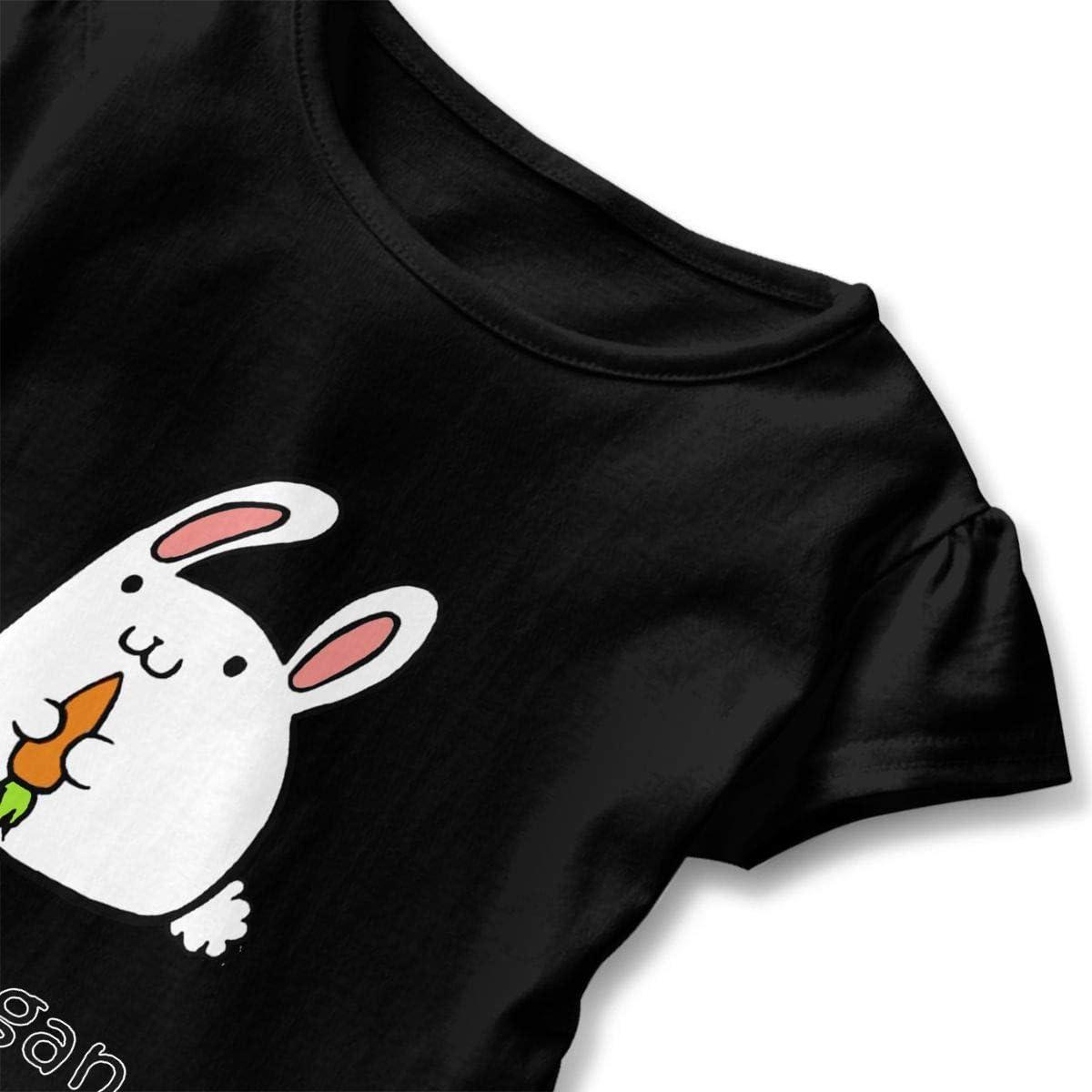 Be A Vegan Like Rabbit Baby Girls Fashion Ruffle Top T-Shirt Flounces Dress Toddler Girls Summer Tops