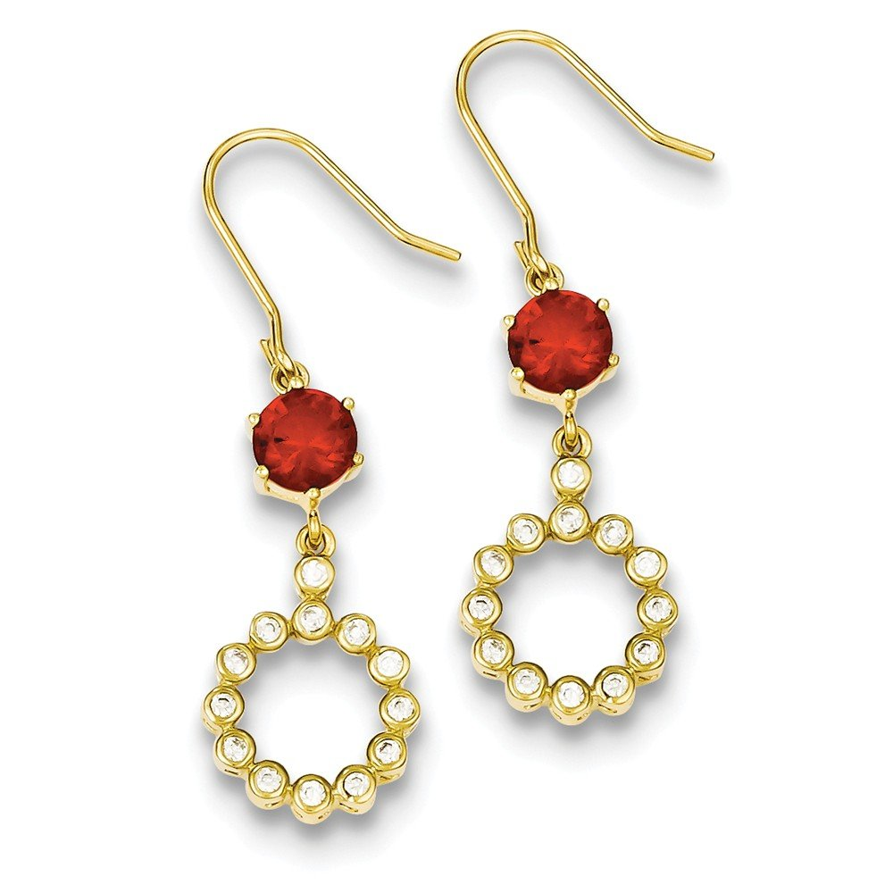 Sterling Silver Gold Plated Synthetic Cz Red Glass Dangle Earrings