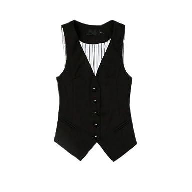 Caseminsto Ladies Vest Tops Black Suit Vests V Neck Waistcoat Women