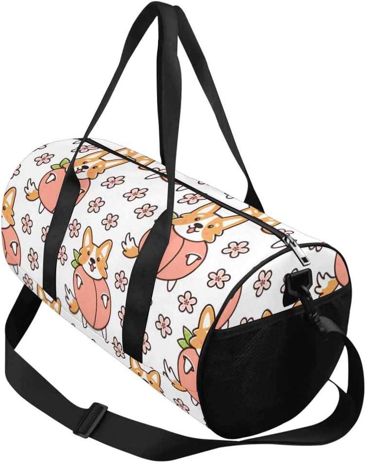 Flowers Travel Overnight Carry on Bag INTERESTPRINT Dog Welsh Corgi