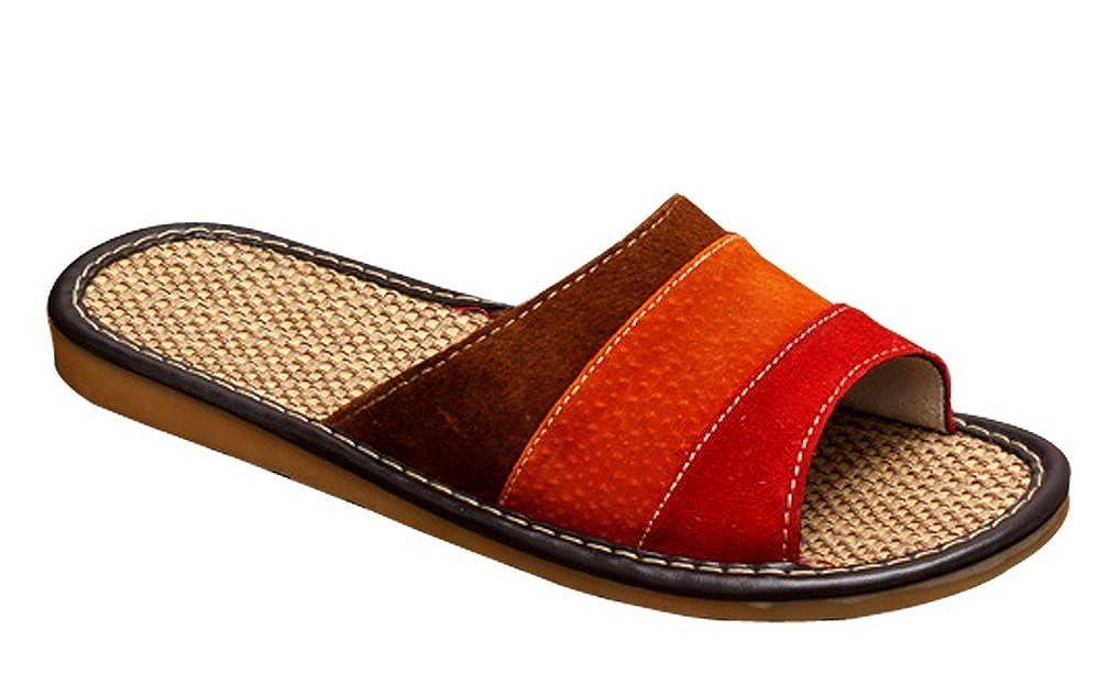 Cattior Womens Linen Open Toe Summer Slippers Leather Slippers