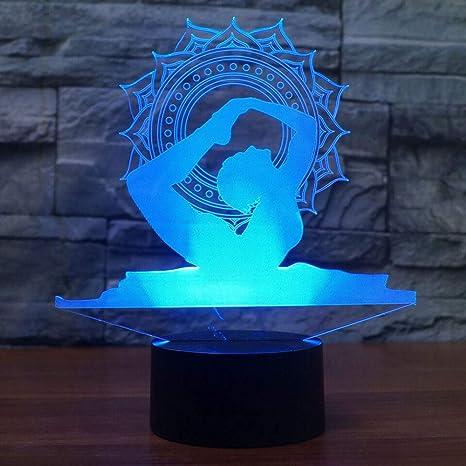YDBDB Luz nocturna Led 3D Yoga Lámpara de Bailarina ...