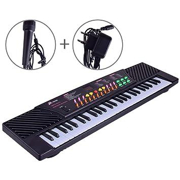 JUFENG Teclado Digital De 54 Teclas para Niños Piano Musical para Adultos O Niños Regalo Principiantes Electrónicos con Micrófono Órgano,Black: Amazon.es: ...