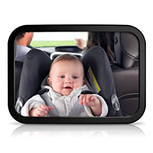 Baby Car Mirror - NOSIVA Large Car Rear View Backseat Baby Mirror, Adjustable Viewing Angle Car Seat Mirror for Child Safety