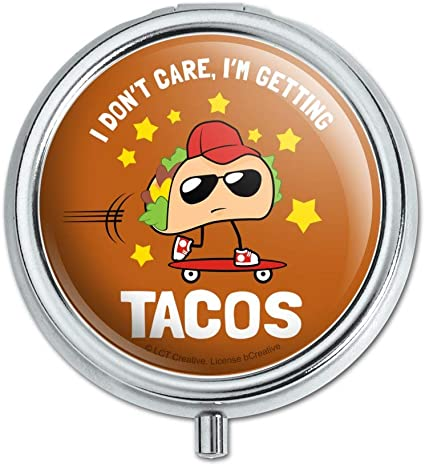 GRAPHICS /& MORE I Dont Care Im Getting Tacos Skateboard Funny Humor 1 Pendant with Sterling Silver Plated Chain