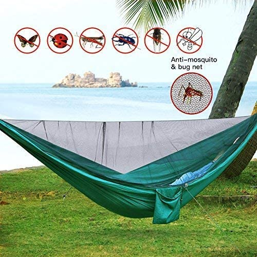 Camping Hammock with Mosquito Net – Lightweight Double Hammock,Hold Up to 660 lbs,Portable Hammocks for Indoor,Outdoor, Hiking, Camping,Travel, Backyard, Beach Dark Green, 114×55