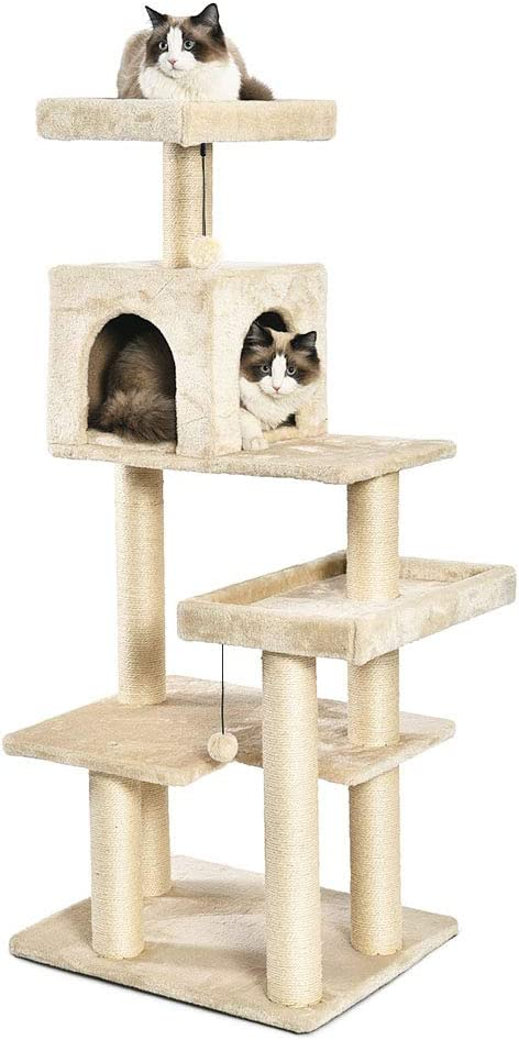 Amazon Basics Extra Large Cat Tree Tower With Condo 24 X 56 X 19 Inches Beige Pet Supplies