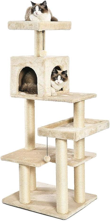 AmazonBasics - Torre en árbol con cerramiento para gatos, extragrande, 61x142,2x48,3 cm, beige: Amazon.es: Productos para mascotas