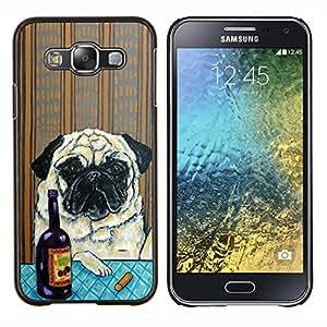 Pug Arte Arrugas Pintura perro Vino- Metal de aluminio y de plástico duro Caja del teléfono - Negro - Samsung Galaxy E5 / SM-E500