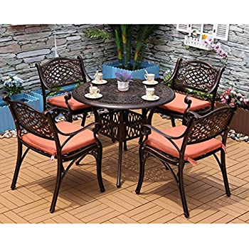 Yongcun Outdoor Patio Furniture Cast Aluminum Dining Set Patio Dining Table  Chair Color Is Antique Bronze
