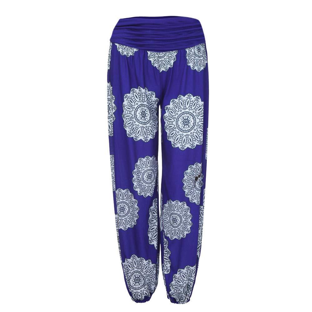 Geetobby Women Harem Pants Ethnic Print Trouser Loose Yoga Fitness Bodybuilding