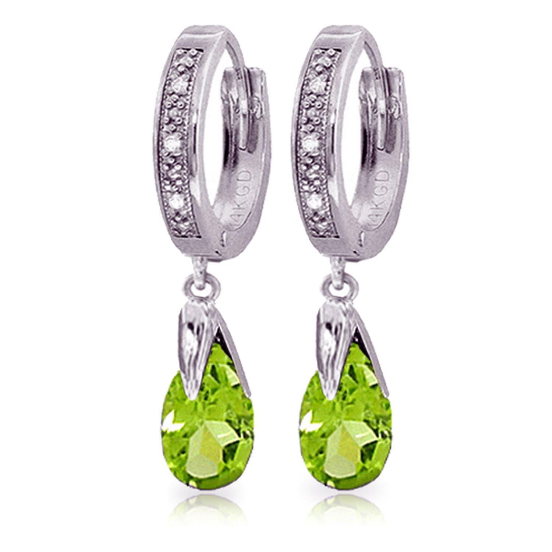 ALARRI 2.53 CTW 14K Solid White Gold Can't Avoid Love Peridot Diamond Earrings