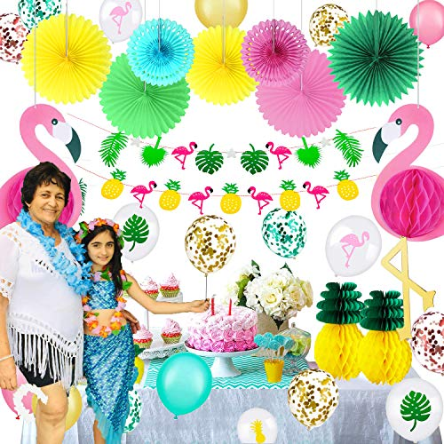 - 40 Pieces Hawaiian Party Decorations Set Including 2 Tissue Paper Pineapples 2 Tropical Pink Flamingo Party Honeycomb 2 Hawaii Banners 7 Colorful Paper Fans 27 Hawaii Party Balloons with Round Confetti