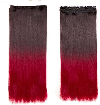 63cm Extensiones de Cabello Clip Pelo Sintético [Castaño Oscuro a Rojo Oscuro] Una Pieza Lisa (120g)