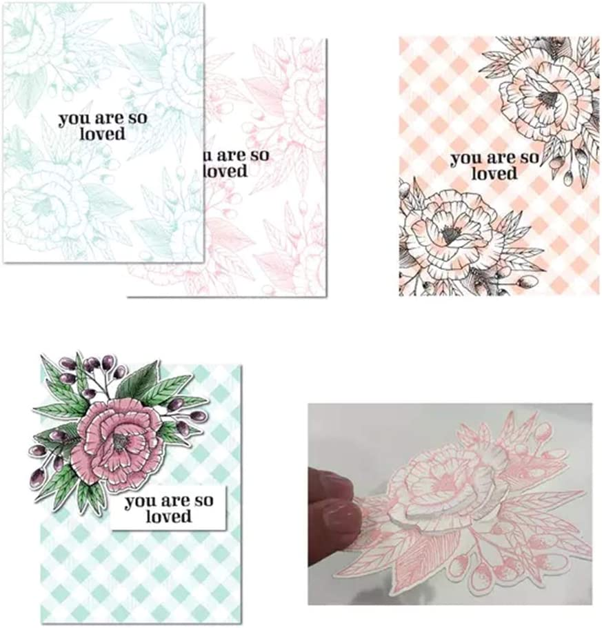 2set Keepart The Flowers DIY Cutting Dies Stencil Clear Rubber Stamps For Scrapbooking Embossing Paper Card Decor Cutting Dies + Clear Stamp Seal