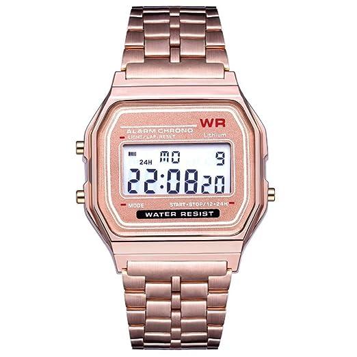 AchidistviQ-Men - Reloj de Pulsera para Mujer, Esfera Cuadrada, Impermeable, Esfera Digital, cronómetro, Color Oro Rosa: Amazon.es: Relojes