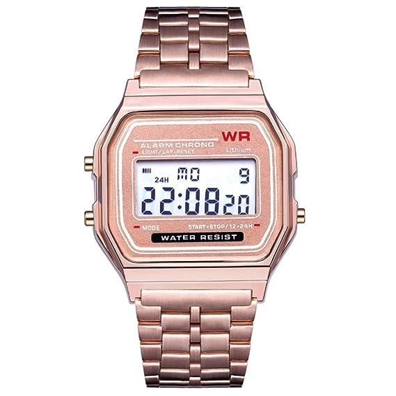Reloj Hombre Mujer Cronómetro de Alarma de Esfera Cuadrada con Pantalla Digital Impermeable - Rosa Dorada: Amazon.es: Relojes