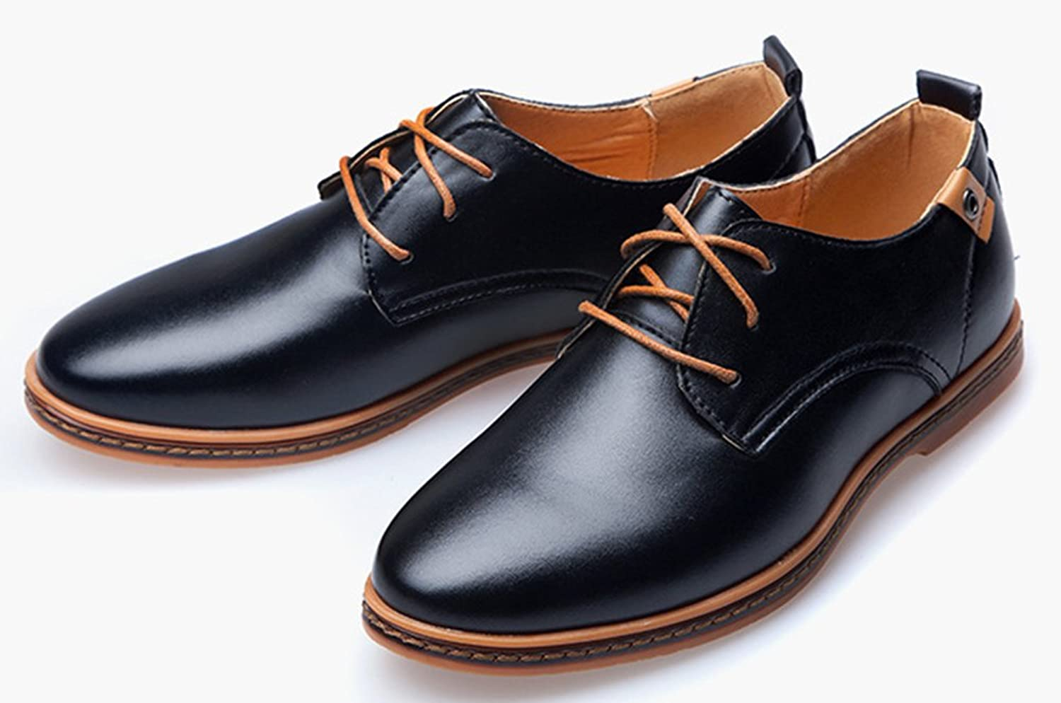 Amazon.com | Diffyou Men's Breathable Lace Up Flat Leather Oxfords ...