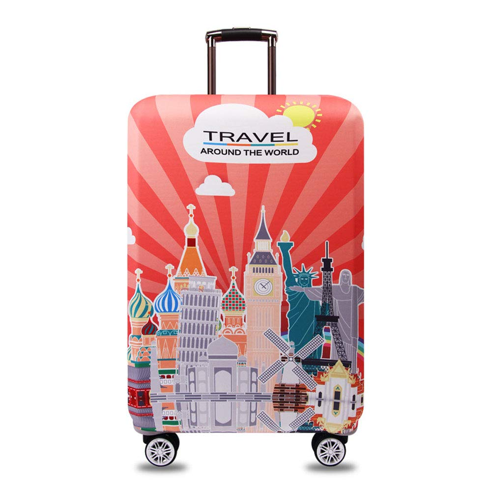 Hbwz 18-32 Inches City Attractions Luggage Cover Elastic Suitcase Protective Cover Travel Luggage Trolley Case Cover Protector,A,XL