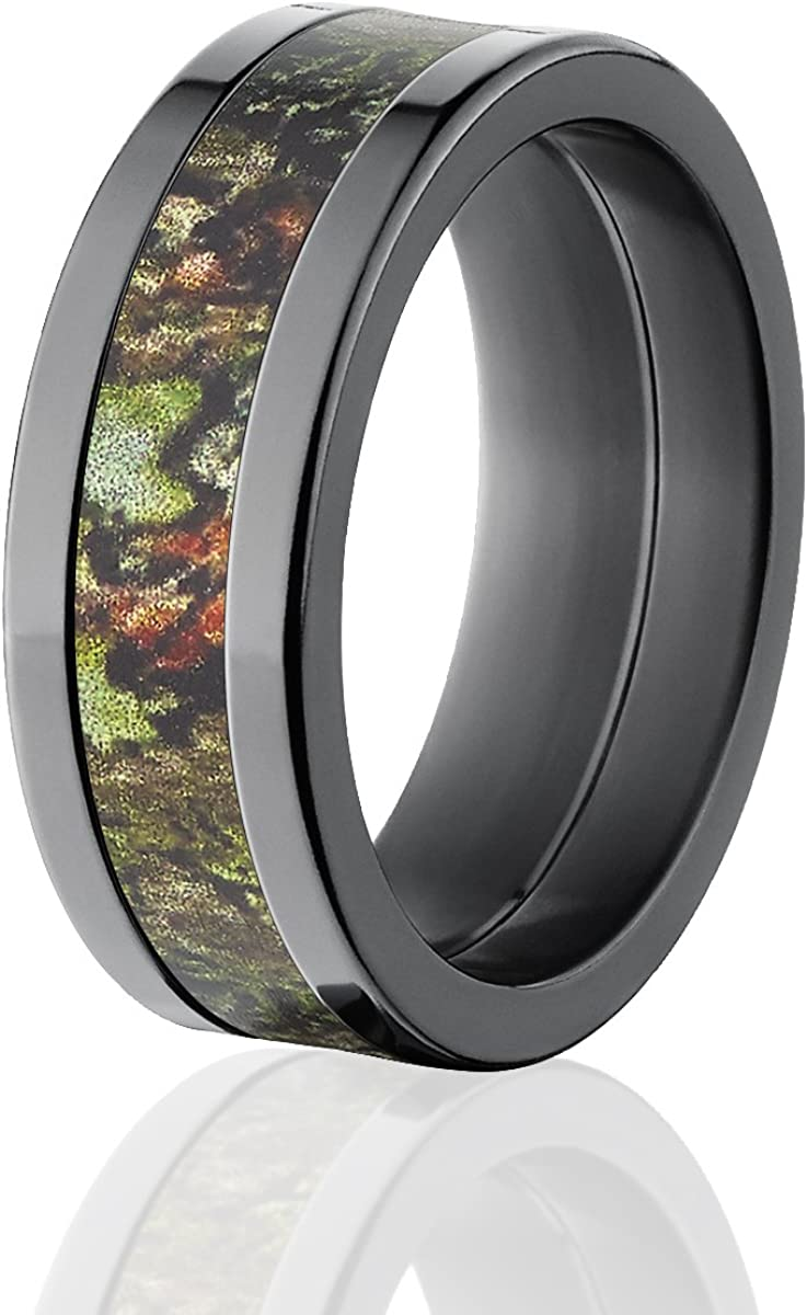 Thorsten Animal Nature Landscape Deer Stag with Two Doe Forest Ring Flat Tungsten Ring 8mm Wide Wedding Band from Roy Rose Jewelry