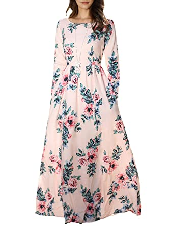 efe6f89bd6b1 Kathemoi Womens Floral Print Casual Dresses Crew Neck Loose Fit Maxi Dress  with Pockets, Pink