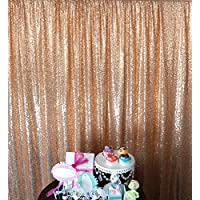 Sequin Backdrop,10FTX10FT-Rose Gold-Sequin Fabric, Wedding Backdrops, Christmas Decoration,Sequin Panel Curtains For Wedding (10FTX10FT, Rose Gold)