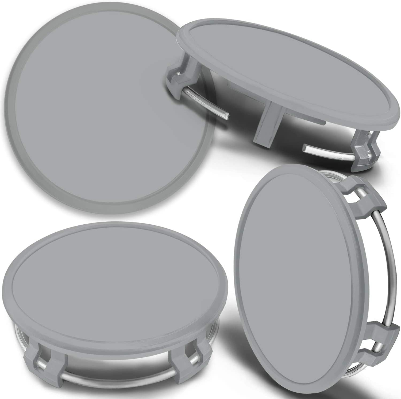 SkinoEu 4 x 75mm Tapas de Rueda de Centro Centrales Llantas Aluminio Tapacubos Compatibles con Mercedes Benz B66470207 B66470200 Plata Gris CMS 0