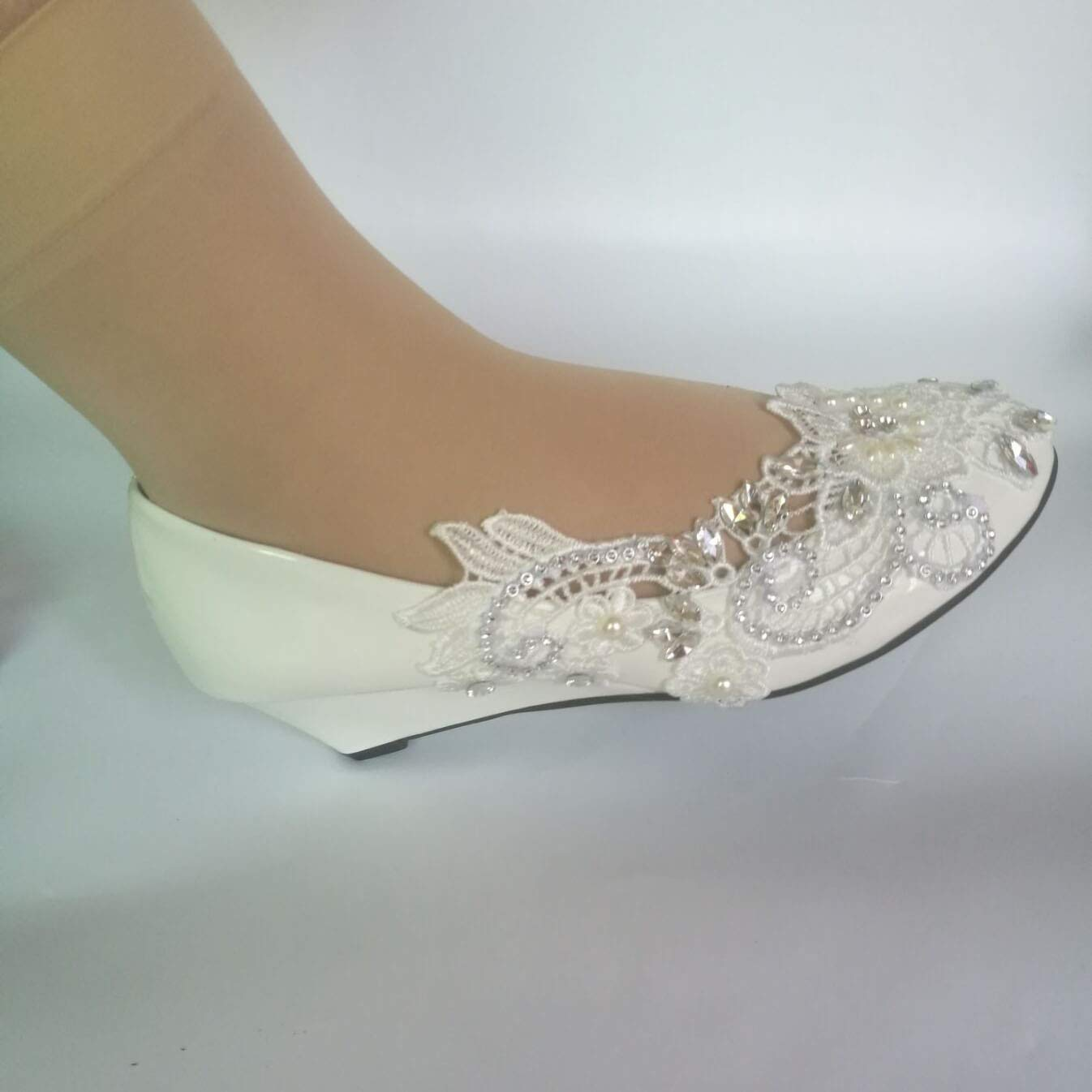 White wedge crystal lace pearls Wedding