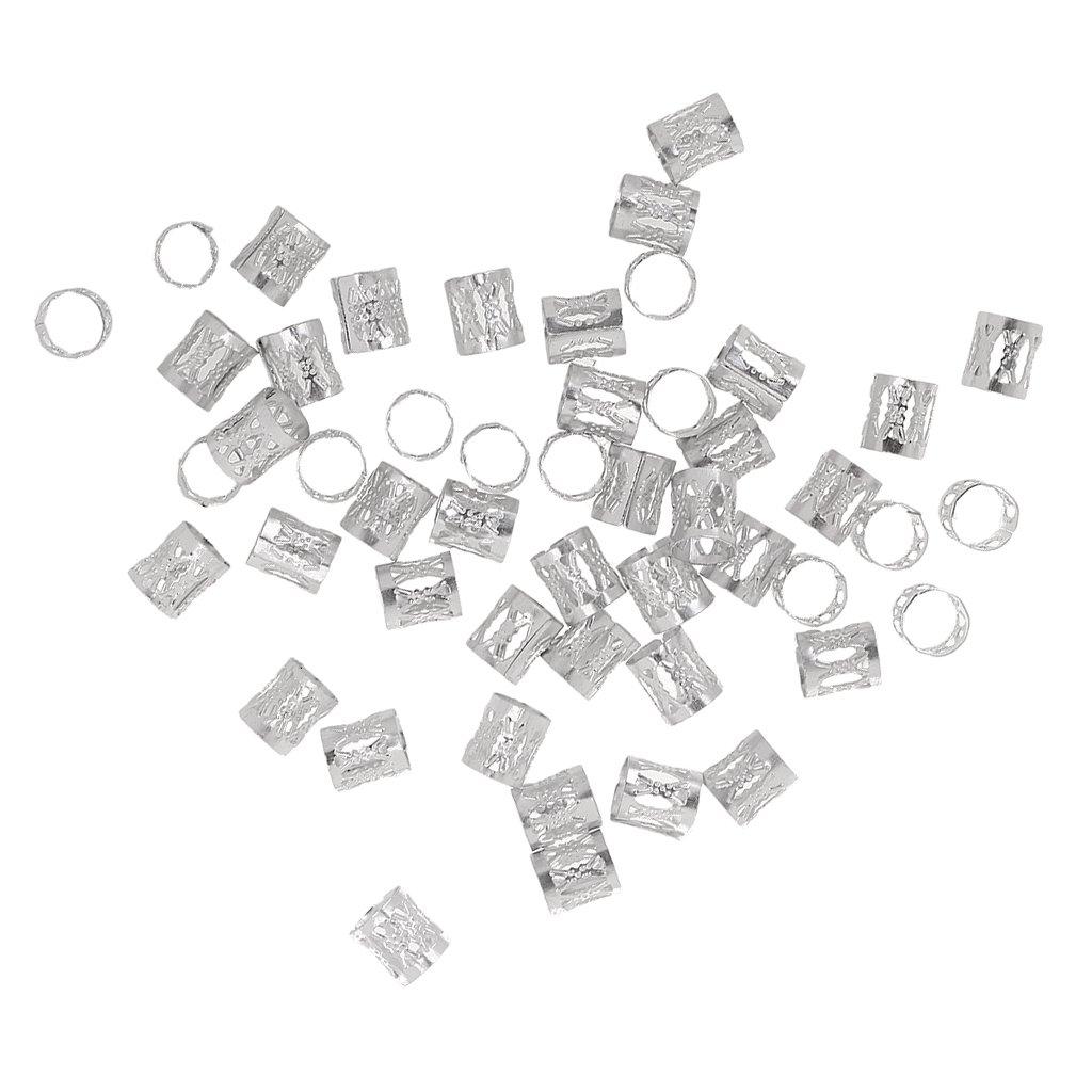 Phenovo 50pz Capelli Treccia Estension Anello Perline Metallo Regolabile - Viola Generic