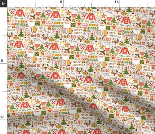 Ho Ho Ho Christmas Design Holidays Fabric - Ho Christmas Design Holidays Merry Christmas! Jingle Bells Happy New Year Ugly Print on Fabric by the Yard - Denim for Sewing Bottomweight Apparel Home