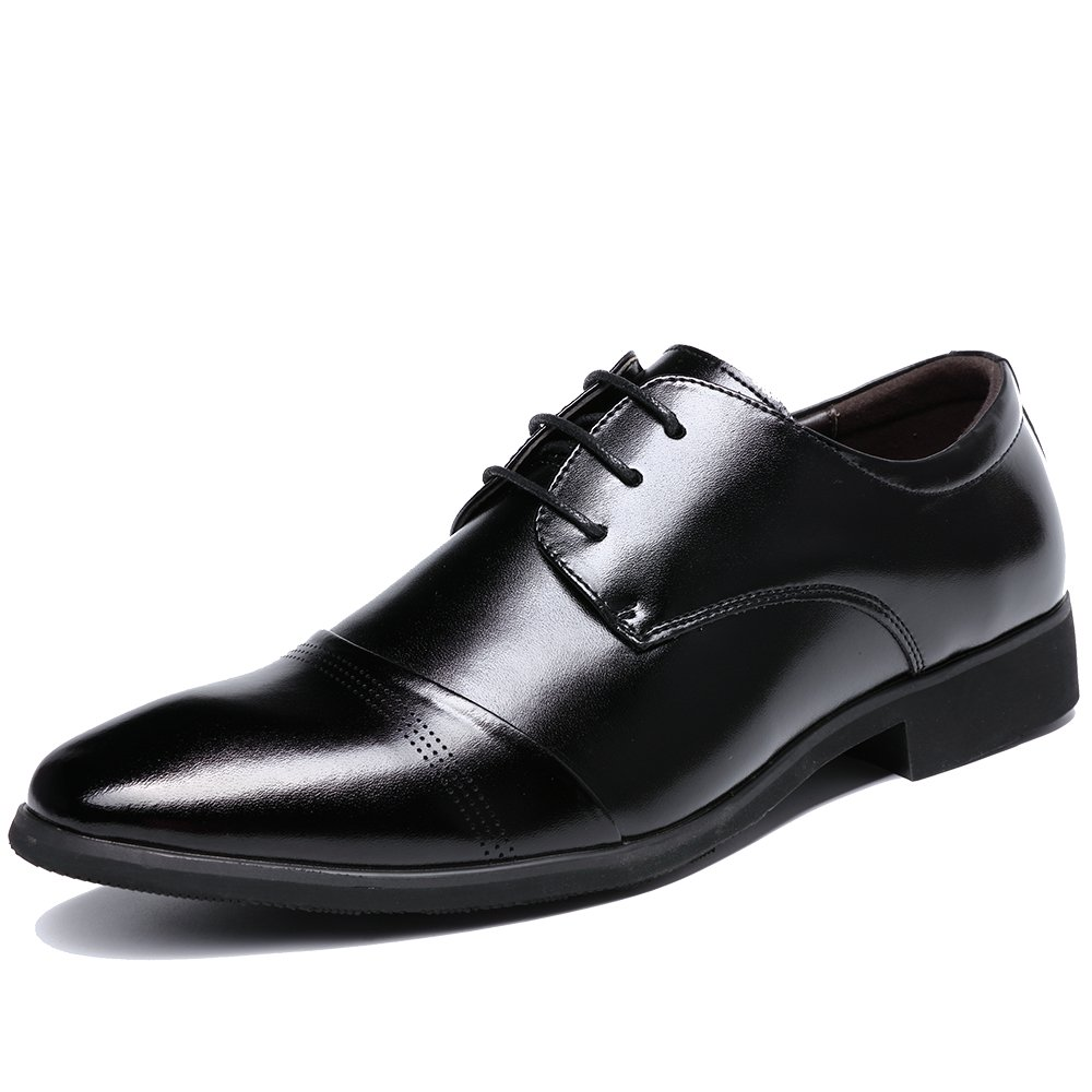 OUOUVALLEY Lace up Patent Leather Oxford Dress Shoes Formal Wedding Shoes 8808 (12 D(M) US, Black)