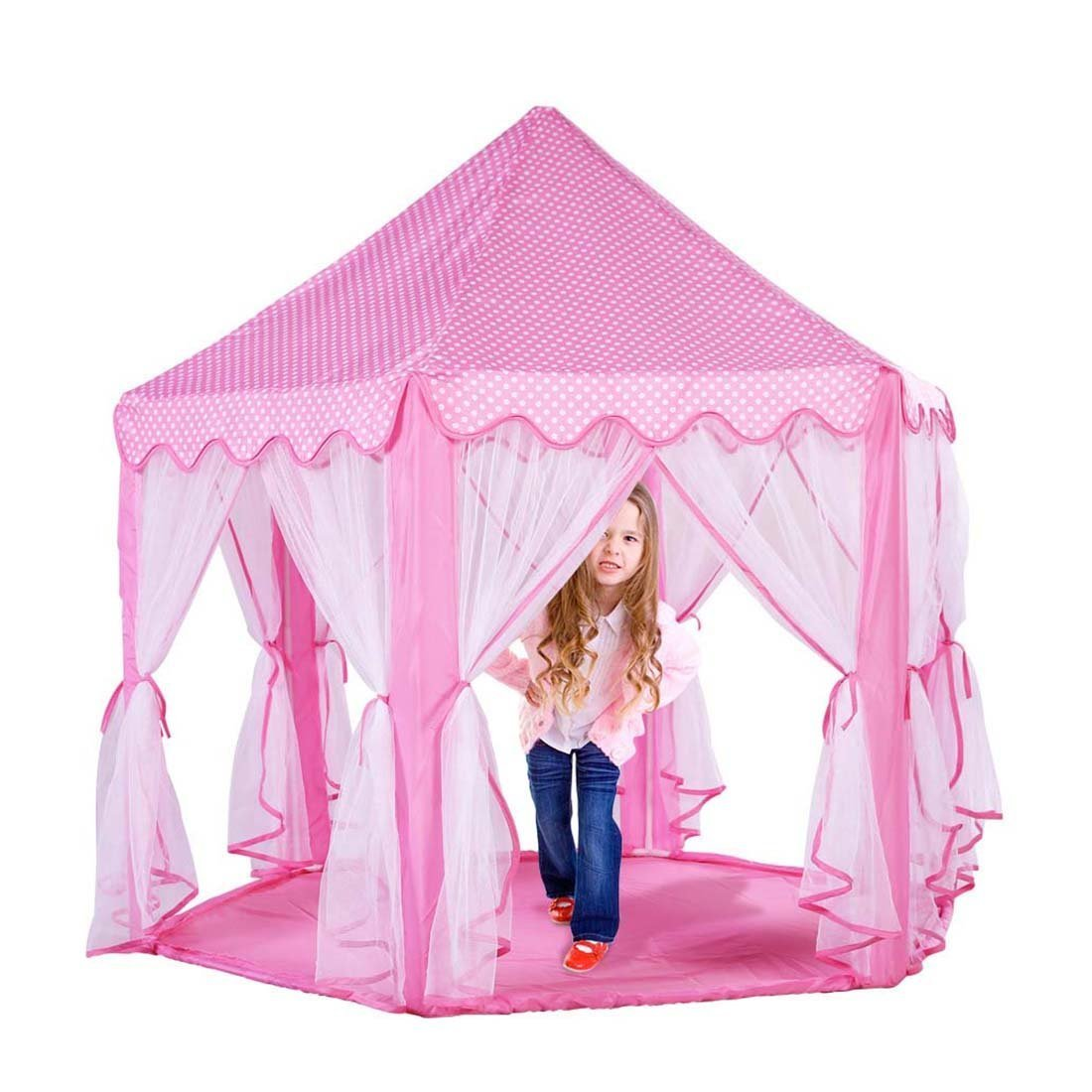Extra Thick Kids Indoor Princess Castle Play Tents with Beading Decoration,Outdoor Girls Large Playhouse,55''x 53''