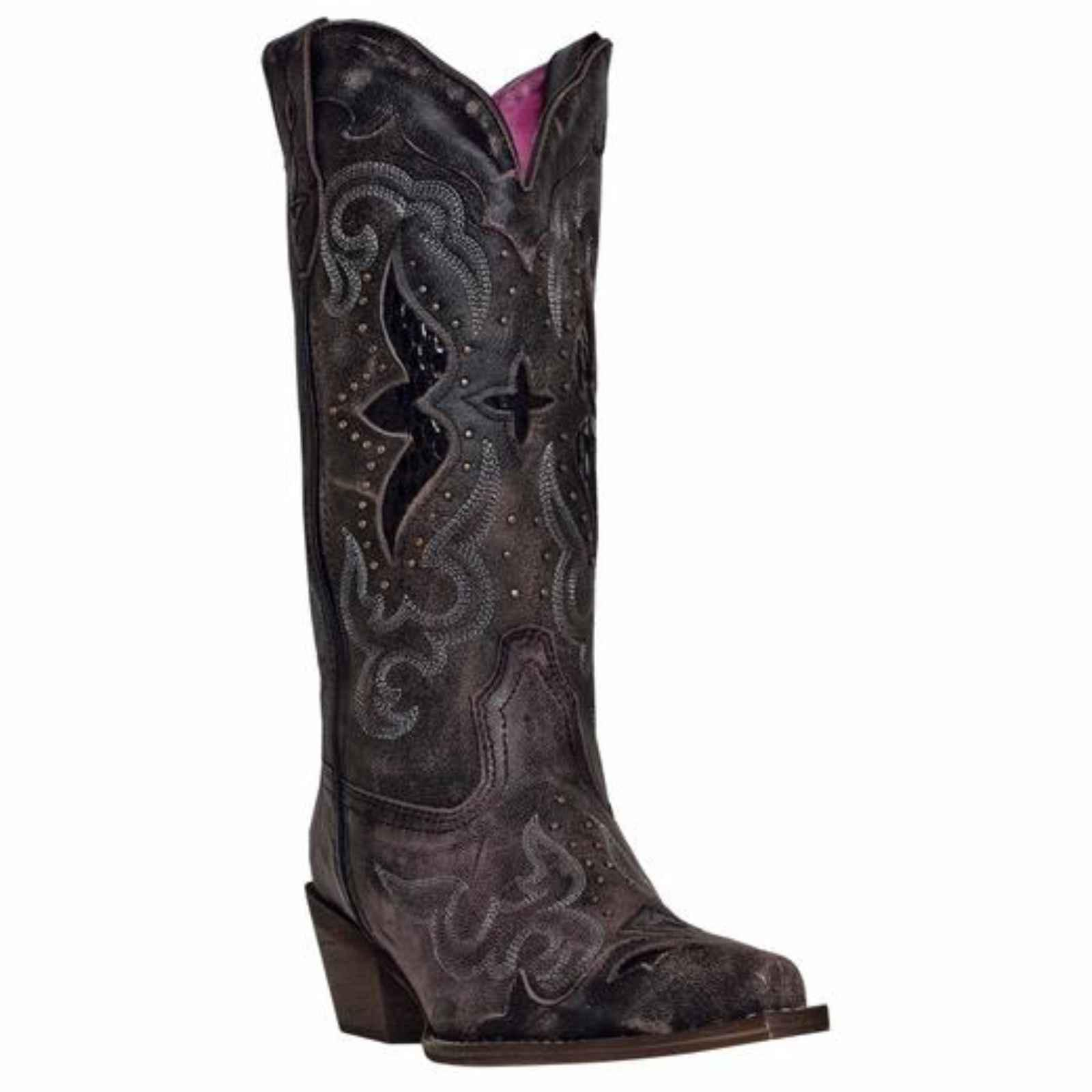 Laredo Womens Black/Tan All Leather Lucretia 13in Snip Toe Cowboy Boots 9 W