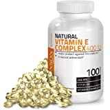Natural Vitamin E Complex Supplement 400 I.U. (80% D-Alpha Tocopherol), Natural Antioxidant, 100 Softgels