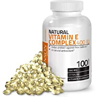 Natural Vitamin E Complex Supplement 400 I.U. (80% D-Alpha Tocopherol), Natural Antioxidant, 100 Softgels